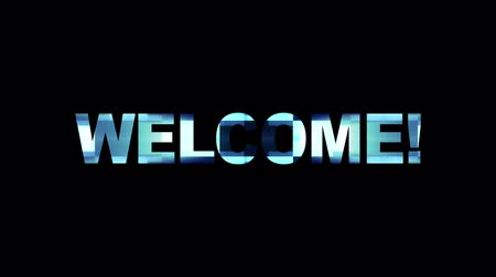 kodeks : neon glitch WELCOME word text animation background logo seamless loop New quality universal technology motion dynamic animated background colorful joyful video Wideo
