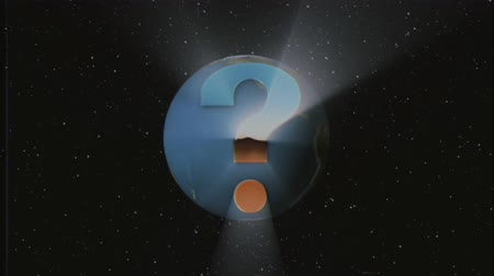 účinky : shiny retro VHS style Question mark fly in and out in stars space and Earth globe animation background new unique vintage beautiful dynamic joyful colorful video stock footage