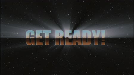 rolety : shiny retro style Get ready text fly in and out in stars space animation background new unique vintage beautiful dynamic joyful colorful video stock footage