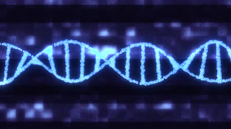gen : DNA spiral molecule rotating on digital interference noise glitched screen animation background new quality beautiful natural health cool nice stock video footage Stockvideo
