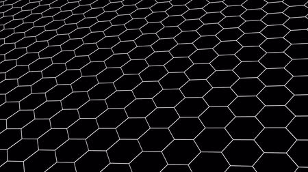 pontilhado : hexagonal grid net field landscape seamless loop drawing motion graphics animation background new quality vintage style cool nice beautiful 4k stock video footage Stock Footage