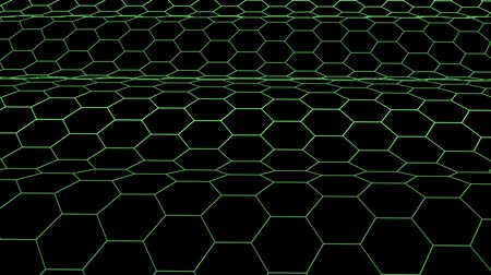 rysunek techniczny : hexagonal grid net waving field landscape seamless loop drawing motion graphics animation background new quality vintage style cool nice beautiful 4k video footage Wideo
