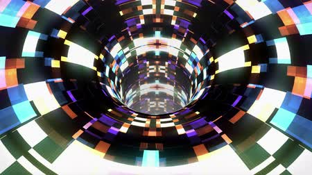 dimension : colorful technological glitch distortion wormhole funnel tunnel flight loop animation background new quality vintage style cool nice beautiful 4k stock video footage Stock Footage