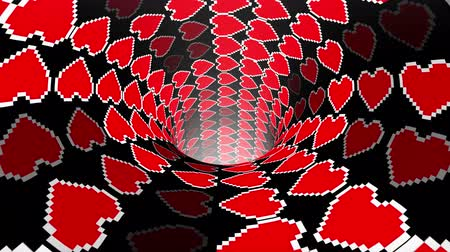worms : pixel heart wormhole funnel tunnel flight seamless loop animation background new quality vintage style cool nice beautiful 4k stock video footage