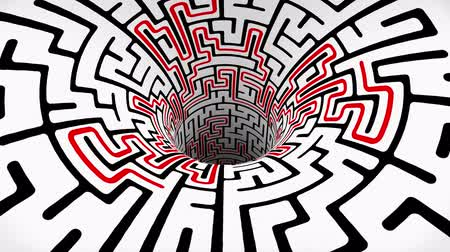 huni : labyrinth maze wormhole funnel tunnel flight seamless loop animation background new quality vintage style cool nice beautiful 4k stock video footage Stok Video