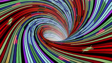 huni : Colorful spiral wormhole funnel tunnel flight seamless loop animation background new quality vintage style cool nice beautiful 4k stock video footage Stok Video