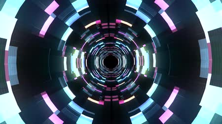 adatbázis : Flight in out neon lights cyber data vr tunnel motion graphics animation background seamless loop new quality futuristic cool nice beautiful 4k stock video footage