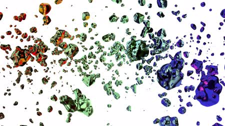 rtuť : colorful liquid metal water drops random diffused in space digital animation background new quality natural motion graphics cool nice beautiful 4k stock video footage