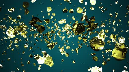 krople : yellow golden liquid metal water drops random diffused in space digital animation background new quality natural motion graphics cool nice beautiful 4k stock video footage Wideo