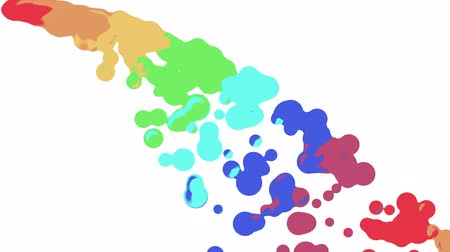 stylised : rainbow colorful paint flow drops fall moving abstract painting animation background new unique quality art stylish joyful cool nice motion dynamic beautiful 4k stock video footage Stock Footage