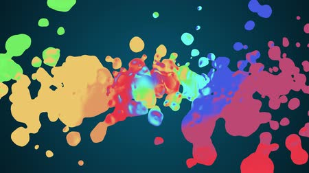 stylised : rainbow spiral colorful splatter blot spreading turbulent moving abstract painting animation background new unique quality art stylish joyful cool nice motion dynamic beautiful 4k stock video footage