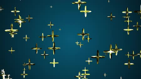 jewellery : many random golden pluses flying floating in space animation background new quality universal motion dynamic animated colorful joyful cool 4k video footage