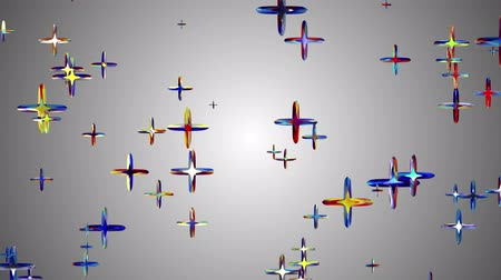 jewellery : many random colorful crystal pluses flying floating in space animation background new quality universal motion dynamic animated colorful joyful cool 4k video footage