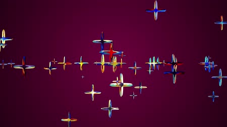 lapis : many random colorful crystal pluses flying floating in space animation background new quality universal motion dynamic animated colorful joyful cool 4k video footage