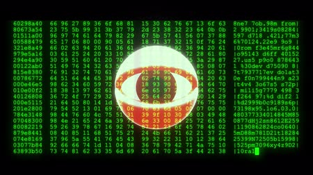 césar : spy hacker wathing eye with encrypted fast long scrolling programming security hacking code data flow stream on display new quality numbers letters coding techno joyful video 4k stock footage