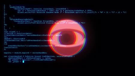 ciberespaço : spy hacker wathing eye with encrypted fast long scrolling programming security hacking code data flow stream on display new quality numbers letters coding techno joyful video 4k stock footage