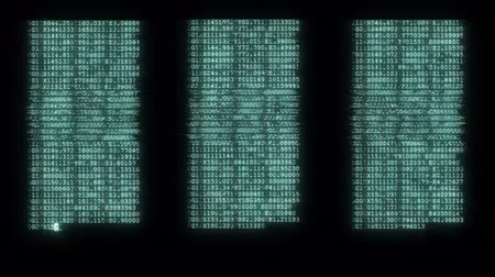 komuta : noisy distorted glitched fast long scrolling programming security hacking code data flow stream on blue display new quality numbers letters coding techno joyful video 4k stock footage Stok Video