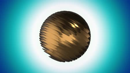 кружка : Golden ribbed ball rotating in space seamless loop background animation new quality new quality industrial techno construction futuristic cool nice joyful video footage Стоковые видеозаписи