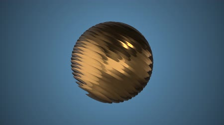 world cup : Golden ribbed ball rotating in space seamless loop background animation new quality new quality industrial techno construction futuristic cool nice joyful video footage Stock Footage