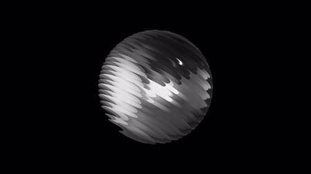 retro patroon : Silver ribbed ball rotating in space seamless loop background animation new quality new quality industrial techno construction futuristic cool nice joyful video footage