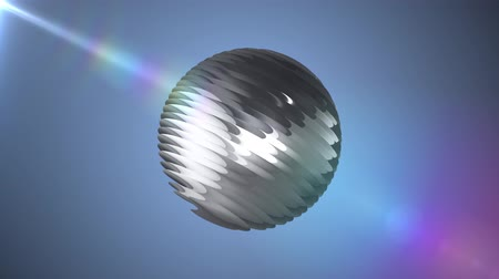 bola de futebol : Silver ribbed ball rotating in space seamless loop background animation new quality new quality industrial techno construction futuristic cool nice joyful video footage