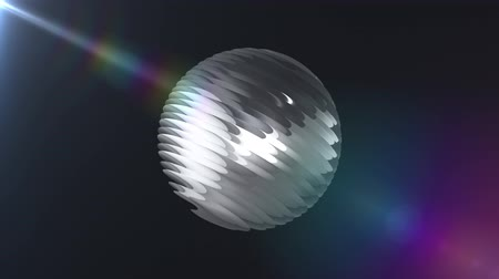 christmas ball gold : Silver ribbed ball rotating in space seamless loop background animation new quality new quality industrial techno construction futuristic cool nice joyful video footage