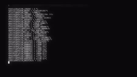 komuta : encrypted fast long scrolling programming security hacking code data flow stream on black white display new quality numbers letters coding techno joyful video 4k stock footage