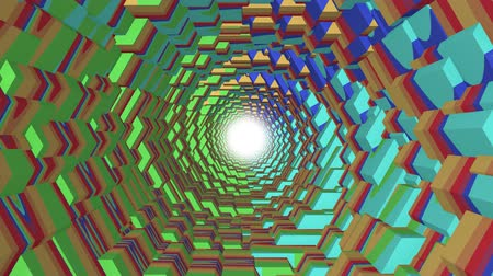 helezon : flight through 3d colorful polygonal scales tunnel background new quality motion graphics animation cool nice beautiful 4k video stock footage Stok Video
