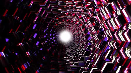 telekomünikasyon : flight through 3d colorful polygonal scales tunnel background new quality motion graphics animation cool nice beautiful 4k video stock footage Stok Video