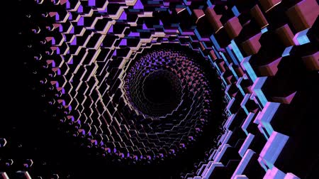 türe öffnen : Flug durch 3D bunte polygonale Spiralschuppen Tunnel Hintergrund neue Qualität Motion Graphics Animation cool schöne schöne 4k Video Stock Footage