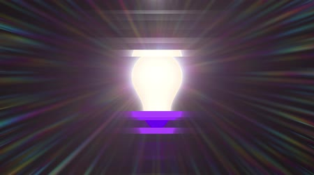 filaman : glitched lamp ligh bulb rainbow shining flares animation background new quality natural lighting effect dynamic colorful bright video4k logo stock footage