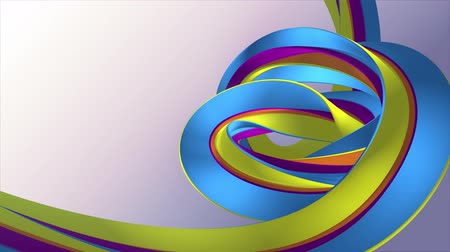 jelatin : Soft colors 3D curved rainbow rubber band marshmallow rope candy seamless loop abstract shape animation background new quality universal motion dynamic animated colorful joyful video 4k stock footage