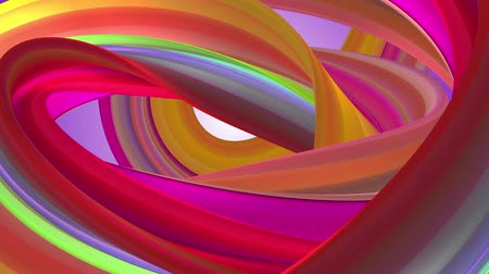 bumps : Soft colors 3D curved rainbow rubber band marshmallow rope candy seamless loop abstract shape animation background new quality universal motion dynamic animated colorful joyful video 4k stock footage