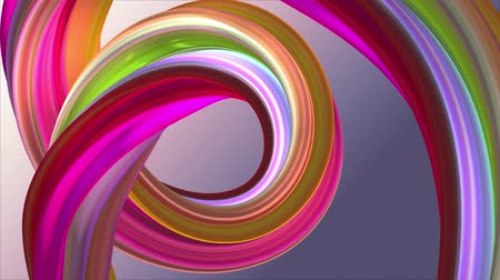 burmak : Soft colors 3D curved rainbow rubber band marshmallow rope candy seamless loop abstract shape animation background new quality universal motion dynamic animated colorful joyful video 4k stock footage