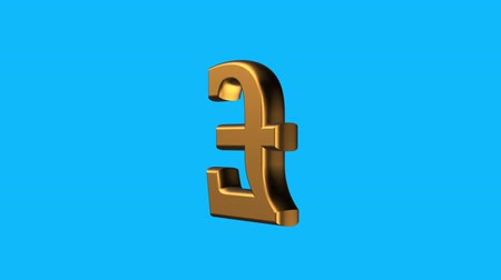 logotipo : golden British POUND currency sign spinning animation seamless loop on blue background new quality unique financial business animated dynamic motion 4k video stock footage