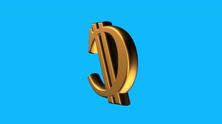 logotipo : golden COLON currency sign spinning animation seamless loop on blue background new quality unique financial business animated dynamic motion 4k video stock footage Stock Footage