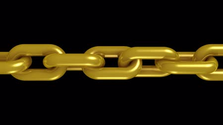 consciousness : golden metal chain rotating seamless loop animation 3d motion graphics background new quality industrial techno construction cool nice joyful 4k video footage Stock Footage
