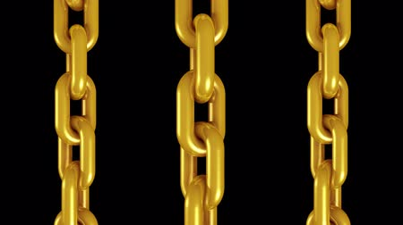 endless gold : 3 golden metal chains rotating seamless loop animation 3d motion graphics background new quality industrial techno construction cool nice joyful 4k video footage