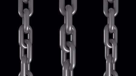 consciousness : 3 silver steel metal chains rotating seamless loop animation 3d motion graphics background new quality industrial techno construction cool nice joyful 4k video footage Stock Footage