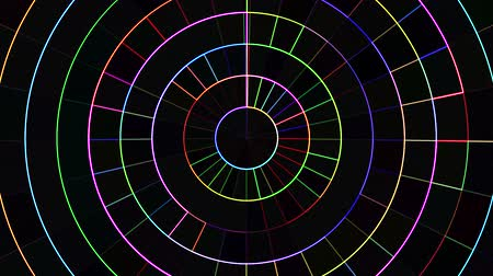 mosaic ornament : neon moving circle grid blocks background animation New quality universal motion dynamic animated technological colorful joyful dance music video 4k stock footage