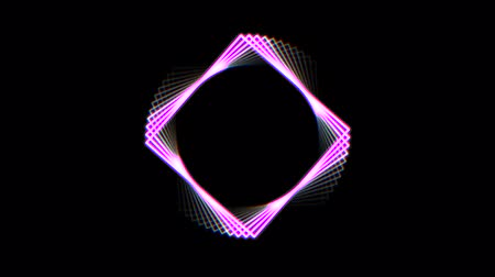 infinito : neon square shape frame rotating seamless loop animation background New quality universal motion dynamic animated cool video 4k 60p footage