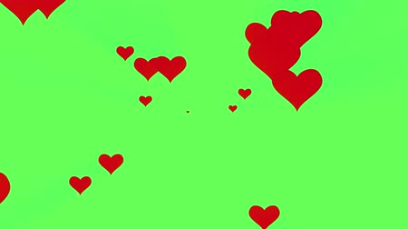 follower : many hearts shape like icon spreading from center overlay animation green screen background New unique quality universal motion dynamic colorful joyful music holiday 4k stock video footage
