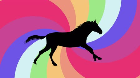 black horse running silhouette on rainbow spiral background new quality unique animation dynamic joyful 4k video stock footage