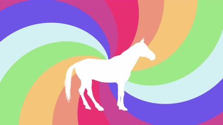 white horse prancing silhouette on rainbow spiral background new quality unique animation dynamic joyful 4k video stock footage