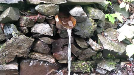 ekolojik : Spring water flowing from the mountain along a wooden gutter Fresh liquid source of wooden channel