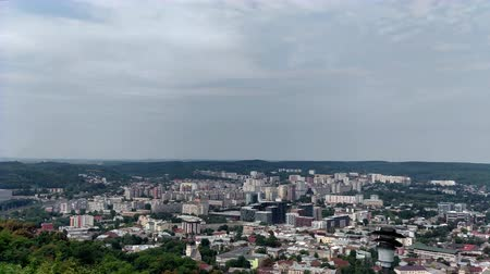 View on city Lviv with overview area in park Sky with clouds vacation
