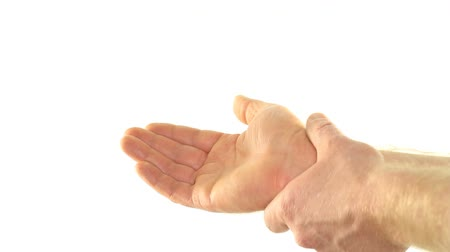 self injury : Reducing Pain with Self Massage of Wrist on White Background Stock Footage