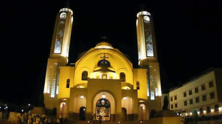 egyiptomi : Coptic church at night, Sharm-el-Sheik, Sinai, Egypt.