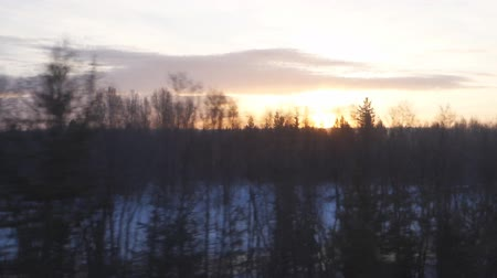 okno : landscape at sunset from the train window Wideo