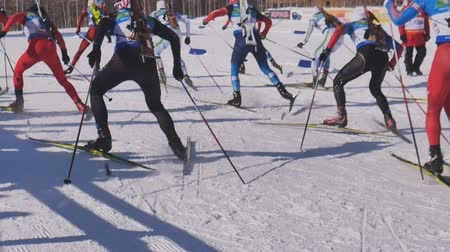 categoria : the start of the race at the biathlon in the mountains
